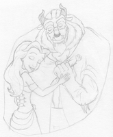 Belle and Beast hug by CartoonJessie