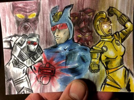 Tribute sketch card to classic ROM spaceknight by csuhsux