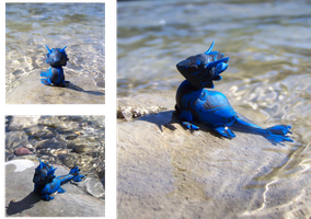 Young sapphire Water Dragon by Aberhavre