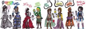 all creepypasta outfits by NENEBUBBLEELOVER