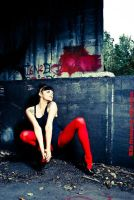 .Red Nylon by LadyBilliePrudence
