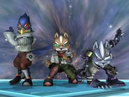 SSBB - Fox, Falco, Wolf by Zakca