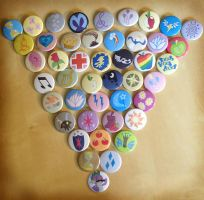 My Little Pony Cutie Marks (and Spike) Buttons by Monostache