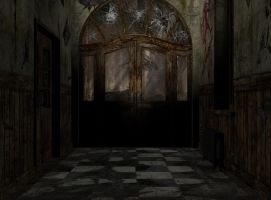 abandoned asylum entrance 0244 by Ecathe