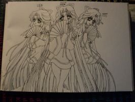 Triplet - Line-Art (finished) by BlackLeatheredOokami