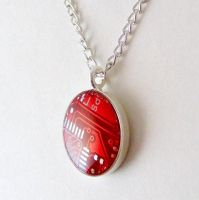 Cherry Red Circuit Board Necklace by Techcycle