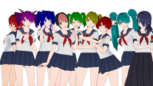 MMD Yandere Simulator - Past models pack DL by FrenchFriesTsun