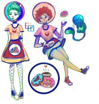 Space Waitresses by MintySunflowers