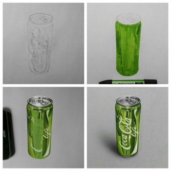 Realistic Coca Cola Life Can - Drawing Phases by Anubhavg