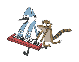 Mordecai and Rigby - The Power (White Background) by SketchedJDII