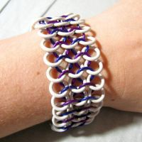 White and Purple Chainmaille Bracelet by merigreenleaf