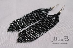 Black bead earrings by releaserevolverenew