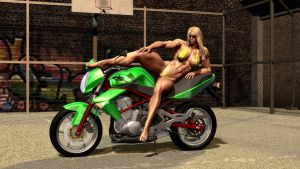 Muscle chick with bike by plinius