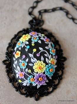 Polymer Clay Floral Applique Pendant Necklace by CharanCreations