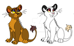 Two female cubs adopts 20Points ONE LEFT by Cynderthedragon5768