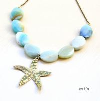 Blue Amazonite Twisted Oval Brass Starfish by IoannaEvans