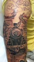 Old Train Tattoo by catbones