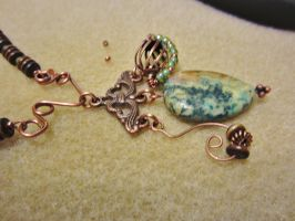 In Progress: Copper and Green Pendant by SadiesAccessories