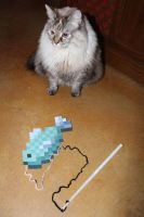 Nibbles and her Minecraft Fish Toy by CharmandersFlame
