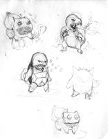Pencil Roughs for the Pokemon Triptych by jbyrd117