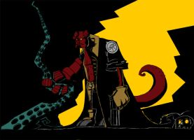 hellboy style comic by schults