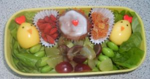 Quail egg chick bento by Sakurakate