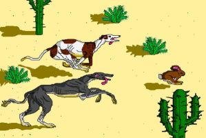 'Coursing Greyhounds' in MS Paint by Cecilia-Schmitt