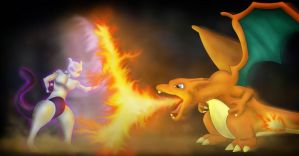 Mewtwo vs Charizard by Scottash17