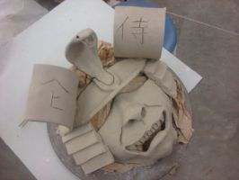 ceramic class project # 3 Slab built mask by ownerfate
