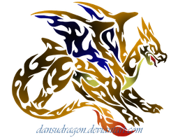 Tribal Flaming Mega Charizard by DansuDragon