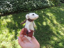 Needle Felted White Rat by abbyroeser