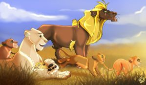Commission Part 1 Lion Family by dyb