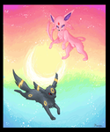 MS Paint Espeon and Umbreon by Psunna