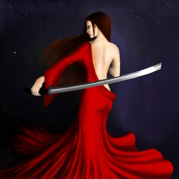 Red Dress Katana by k-kotashev