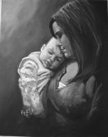 A MOTHERS LOVE my painting by cliford417