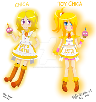Chica and Toy-Chica Fnaf (Pole Bear Design) by AdriKoneko-Mizuiro