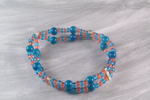 Stretch Bracelet Blue and Orange Double Row Beaded by hottyblond2000