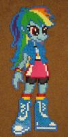 Rainbow Dash Equestria Girls perler craft by Pika-Robo