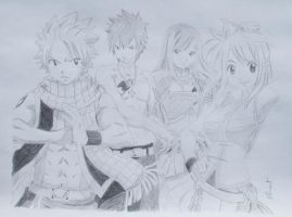 The band Natsu, Grey, Erza and Lucy [Fairy Tail] by Fl0wrang