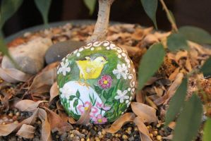 Spring Chick and Flowers Hand painted stone (Etsy) by emmysheartsncrafts