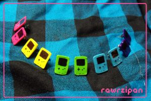 Gameboy Color Earrings by rawrzipan