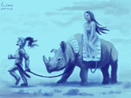 21 Man woman and rhino by foice
