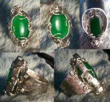 Hand~Made Green Jade Stainless Steel Ring by BESTGEM4U