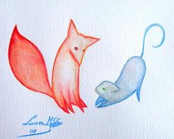 Fox and cat by Ardid-Art