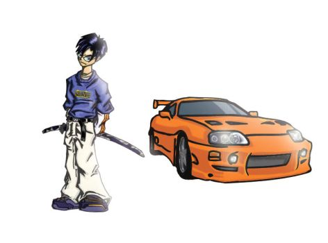 Character and Car by aestheticartist