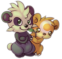 Pancham and Teddiursa by Yo-Angie