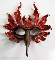 Fantasy Cardinal leather bird mask by shmeeden