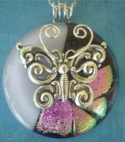 Fluttering on Pink Fused Glass by FusedElegance