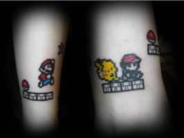 Mario 8-bit tattoo by Frosttattoo