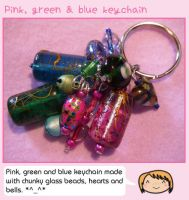 Pink, green and blue keychain by fairy-cakes